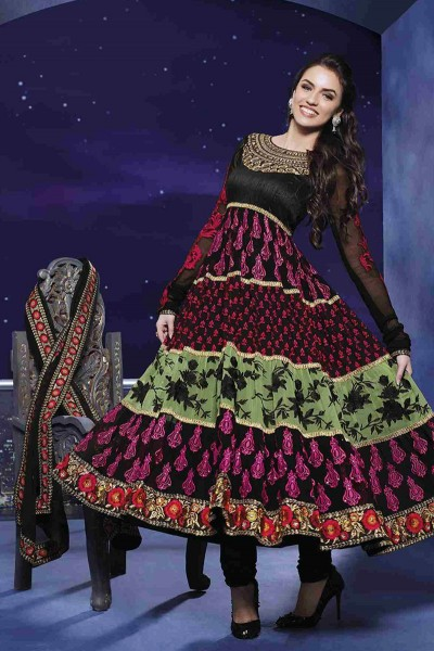Black Ankle Length Anarkali Suit