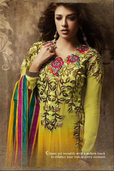 Orange Green Anarkali Suit