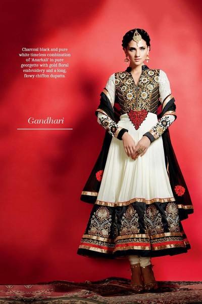 Off White Anarkali Suit and black Anarkali Suit