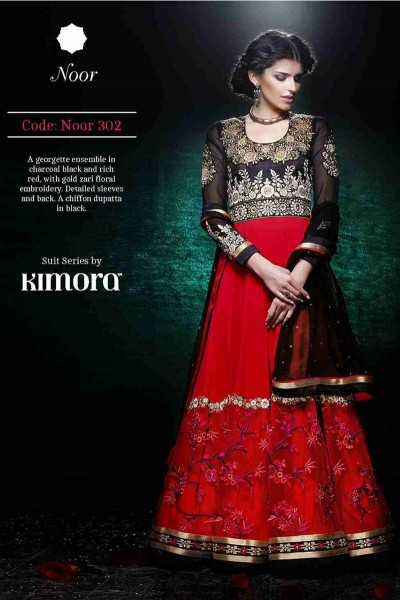 Red and Black Ankle length anarkali suit