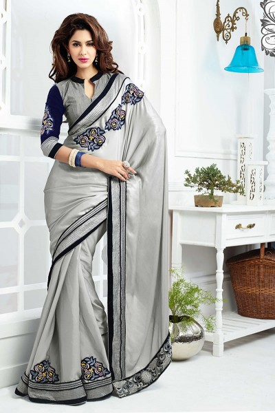 Grey Satin saree