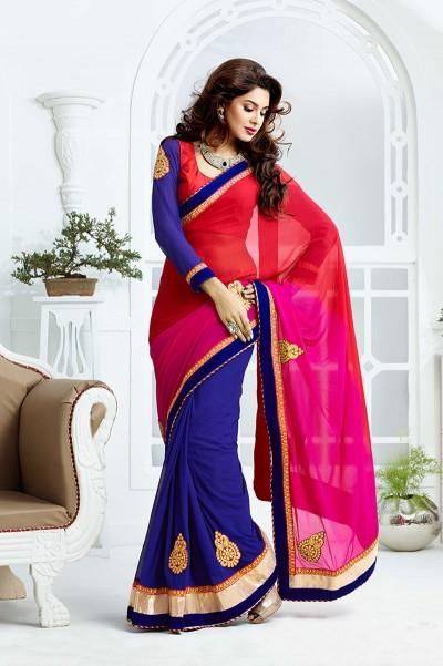 Red and Blue Half n Half Saree