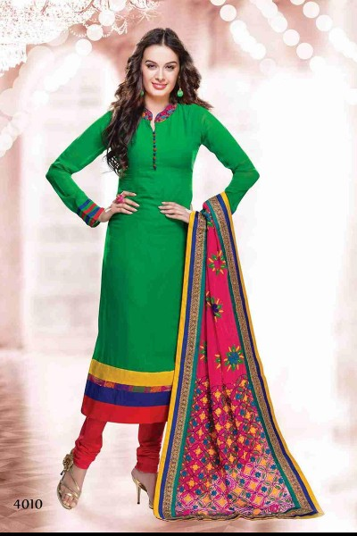 Green and pink Churidar Suit