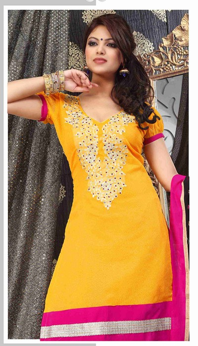 Yellow churidar suit