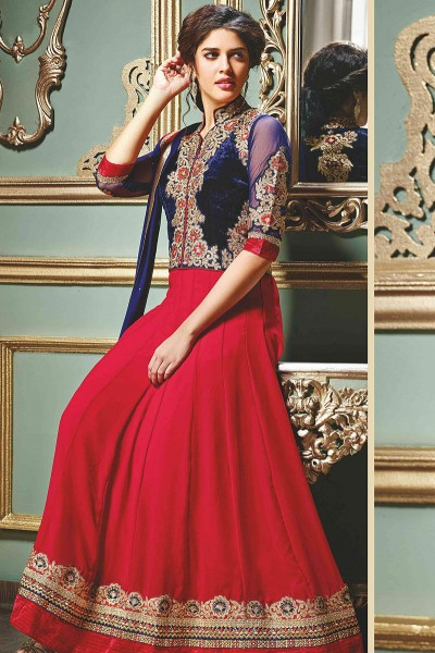 Blue and Red floor length Anarkali Suit