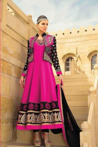 Pink Ankle Length Anarkali Suit
