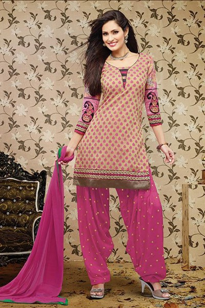 Beige and Pink Patiala Suit