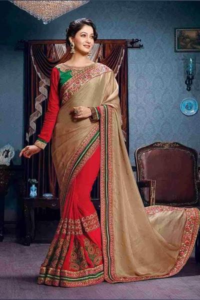 Beige Red half and half saree
