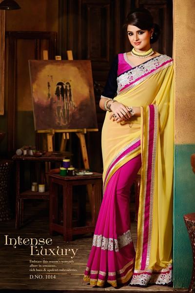 Yellow and Pink Half n Half Saree