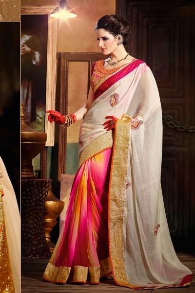 Beige and Pink Half n Half saree