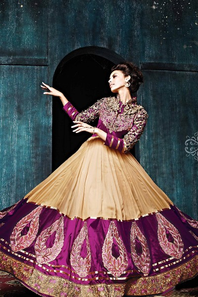 Purple Ankle Length Anarkali Suit