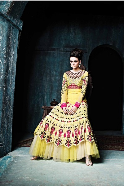 Yellow Layered Anarkali Suit