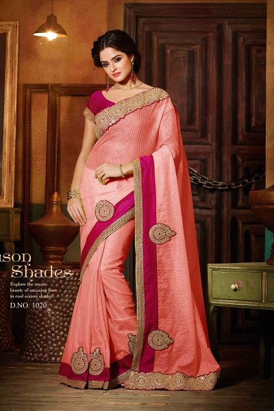 Pink Super net Saree