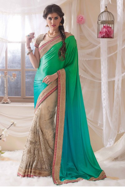 Green half n half saree