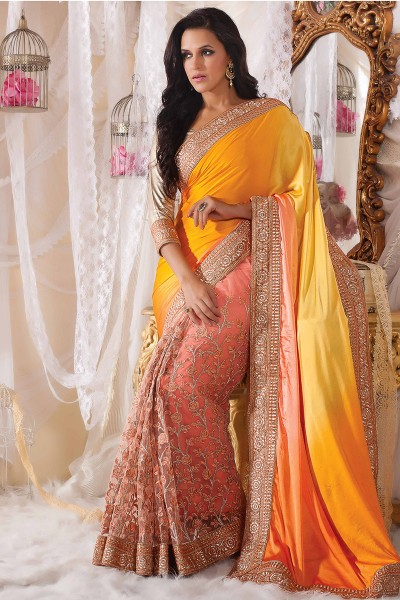 Yellow  Pink half n half saree
