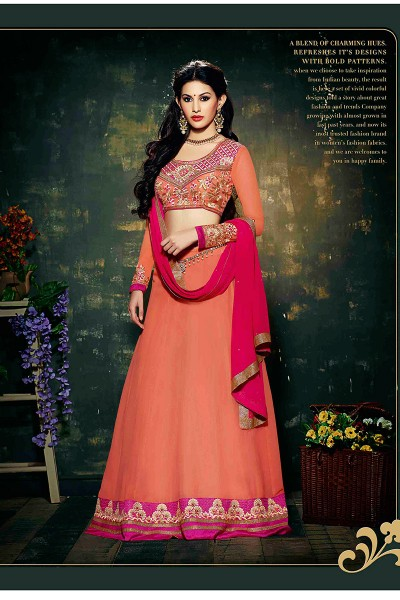 Orange Pink Anarkali Suit