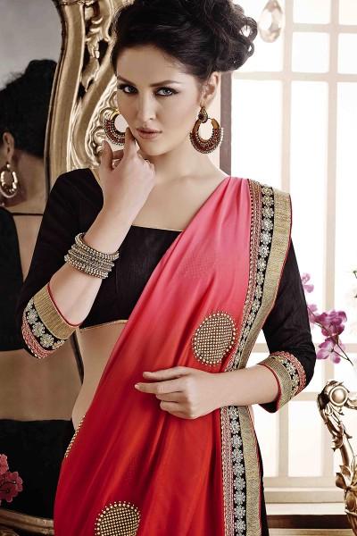 Red Pink Saree