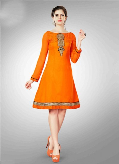 Orange Kurti  Embroidered