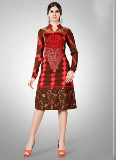 Brown Kurti  Embroidered