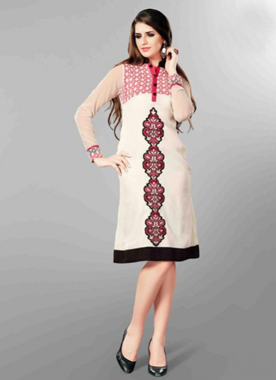 White Kurti  Embroidered