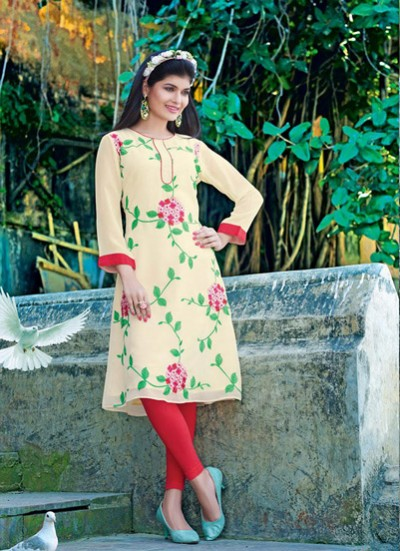 Beige Kurti  Embroidered