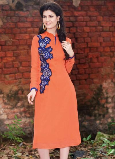 Orange Kurti  Embroidered