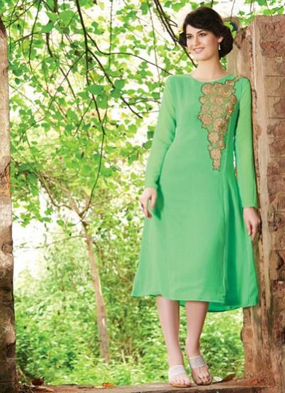 Green Kurti  Embroidered