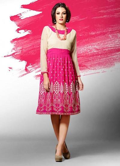 Pink Kurti  Embroidered