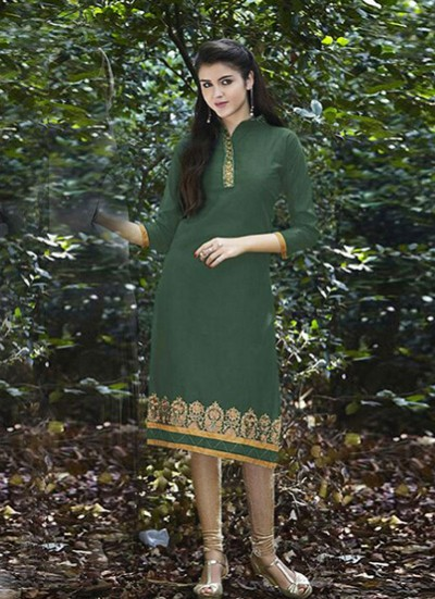 Green Kurti Embroidered