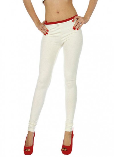 Readymade free size Off White Cotton Lycra Leggings