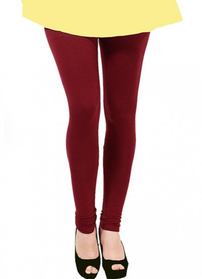 Readymade free size Maroon Cotton Lycra Leggings