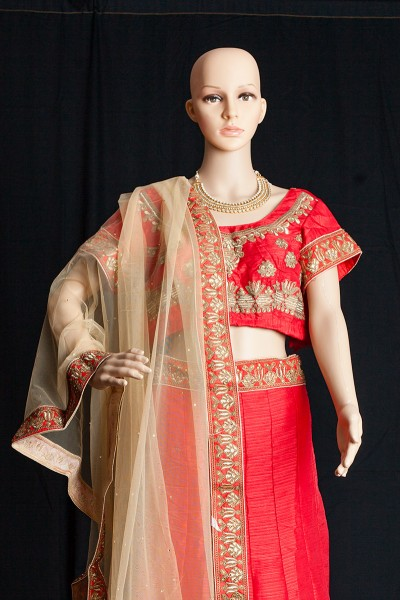 Bangaluri silk embroidered lehenga with dupatta LEHENGA-KOREAN CRAPE INNER-SANTOON DUPATTA-NETT BLOUSE-BANGLORI SILK