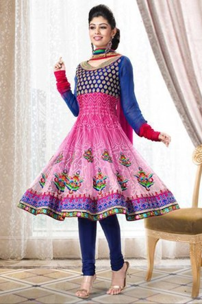 Blue and Pink Anarkali Suit