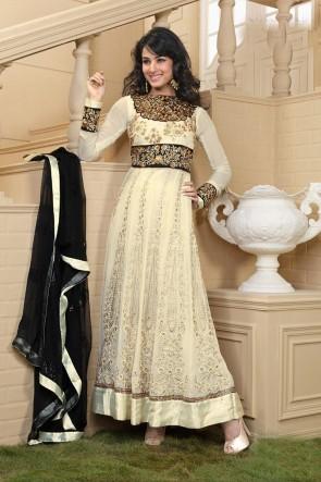 Beige Ankle length Anarkali Suit