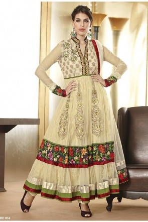 Beige Ankle Length Anarkali Suit