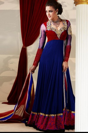 Blue and Red Ankle length Anarkali Suit
