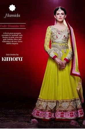 Green Ankle Length Anarkali suit