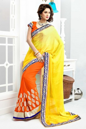 Yellow and Orange half n half saree