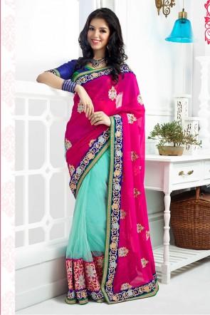 Pink and Green saree