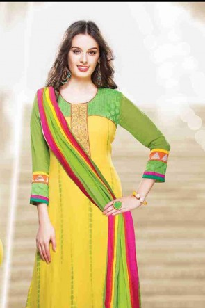 Green and Yellow Churidhar Suit