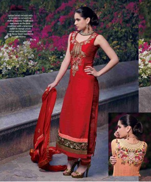 Red silk straight churidar suit