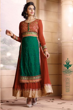 Green and Brown Anarkali suit