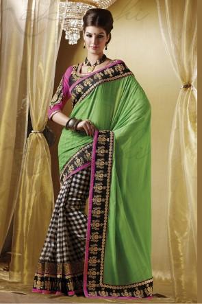 Green half n half saree
