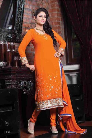Orange Churidar Suit