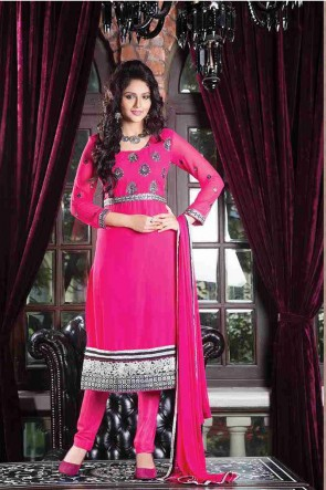 Bright Pink Churidar Suit