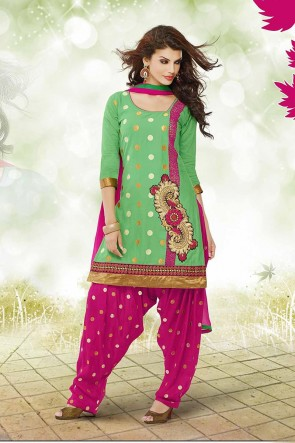 Green and Pink Patiala Suit