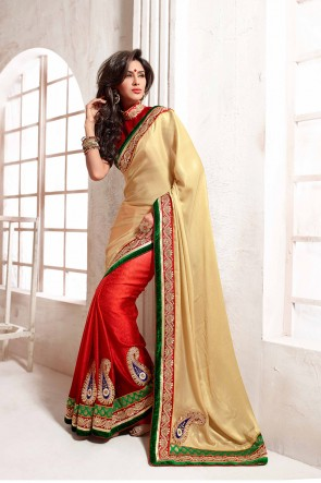 Beige and Red Saree