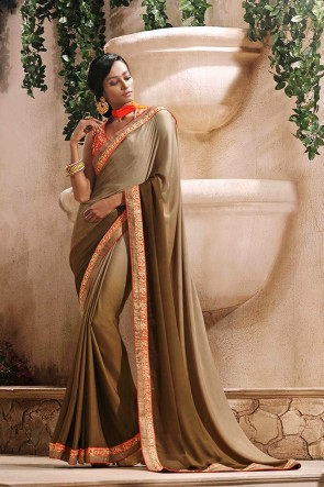 Beige Satin Saree