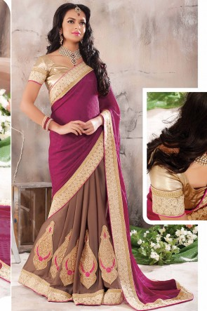 Purple Half n Half Saree
