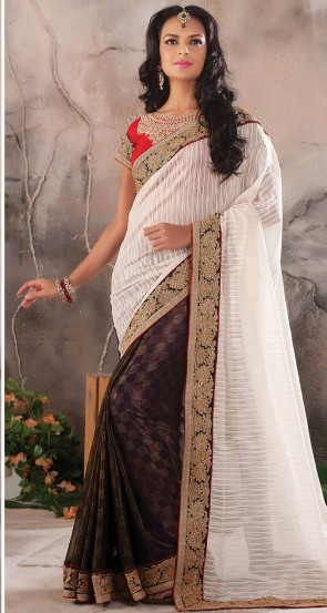 White Half n half Saree
